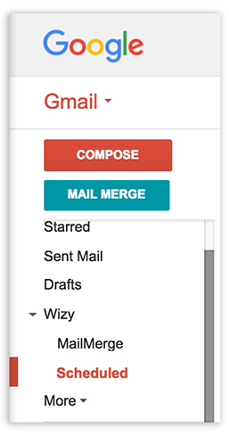 scheduled email menu