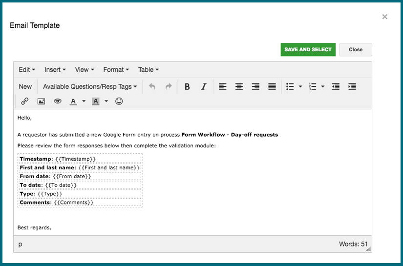 fw - email editor