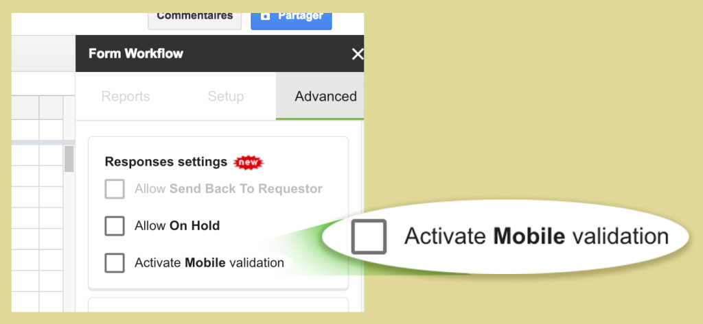 1 First activate the option formworkflow