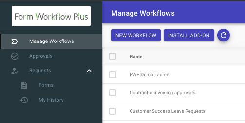 screenshot of Form Workflow Plus application